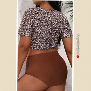 Plus Size Bikini with faux tie top & short sleeves